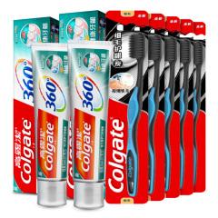 高露洁(Colgate)360健康牙龈牙膏200g*2+细毛护龈炭牙刷单支装*5