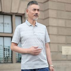 中年男士短袖T恤 爸爸装真口袋商务休闲Polo衫男装2019夏装新款男