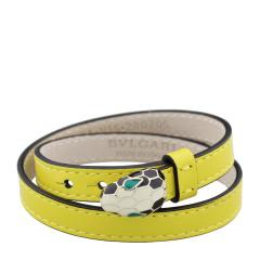 BVLGARI/宝格丽 黄色女士牛皮单蛇头双层手环