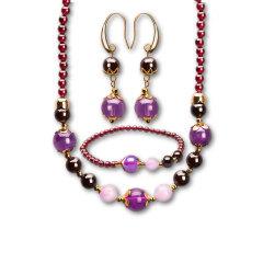 芭法娜 紫色流星雨 天然石榴石配紫水晶时尚三件套