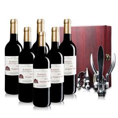 法国红酒巴菲太太波尔多干红葡萄酒六支赠送兔子开瓶器礼盒